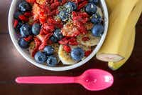 The Heavenly Acai bowl is photographed at the Heavenly Acai location in Frisco, Texas, on Monday, Aug. 5, 2019. This is the most popular bowl at the establishment, and the base features organic acai, almond butter, cacao, strawberries, banana and housemade cashew milk. (Lynda M. Gonzalez/The Dallas Morning News)(Lynda M. Gonzalez/Staff Photographer)