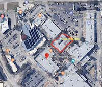 Aerial map of The Hill shopping center on the northeast corner of Walnut Hill Lane and N. Central Expressway in Dallas. The perimeter of the building is marked off where New York-based Camp is opening a store in Dallas in fall 2019.(Camp/Camp)
