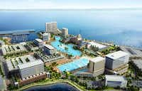 A new developer, Sapphire Bay Land Development, unveilled plans Thursday, Aug. 8, for a $1 billion lakefront development in Rowlett, which will include a 6.5-acre Crystal Lagoon, a surf and beach club, and a 500-room resort hotel and conference center.(Sapphire Bay Land Development)