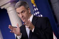 Ken Cuccinelli, acting director of U.S. Citizenship and Immigration Services, spoke about immigration policy at the White House during a briefing Aug. 12 in Washington, DC. He said that immigrants legally in the U.S. would no longer be eligible for green cards if they utilize any social programs available in the nation.(Win McNamee/Getty Images)