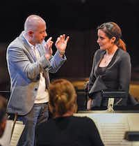 """<p>Hart faculty member Maestro Carlo Montanaro worked with Lina Gonzalez-Granados during the Dallas Opera's Hart Institute for Women Conductors. Montanaro&nbsp;<span style=""""font-size: 1em; background-color: transparent;"""">will lead Elgar's <i>Enigma </i>Variations and Brahms ' Second Symphony as guest conductor for the Fort Worth Symphony on May 21.</span></p>(Karen Almond)"""