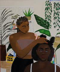 """Artist Ari Brielle's work """"Safe Place"""" is being displayed at the Oak Cliff Cultural Center in Dallas. Her work explores the challenges of African American women in today's society.(Lawrence Jenkins/Special Contributor)"""
