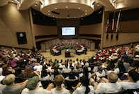 Community members listen during a city council meeting at the Plano Municipal Center in Plano, TX, on Aug. 12, 2019.(Jason Janik/Special Contributor)