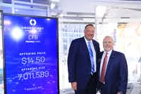 Shares of CrossFirst Bankshares started trading on the Nasdaq on Thursday, Aug. 15, 2019. CrossFirst Bank CEO Mike Maddox, left, and CrossFirst Bankshares CEO George Jones traveled to New York City for the occasion.(Courtesy of CrossFirst Bankshares)