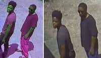 Images of two suspects sought in connection with the shooting death of two men at a Pleasant Grove game room.<br>(Dallas Police Department<br>)