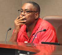 Plano Mayor Harry LaRosiliere listens to The Turning Point executive director speak from the podium during a work session Saturday, Aug. 17, 2019.(Stewart F. House/Special Contributor)