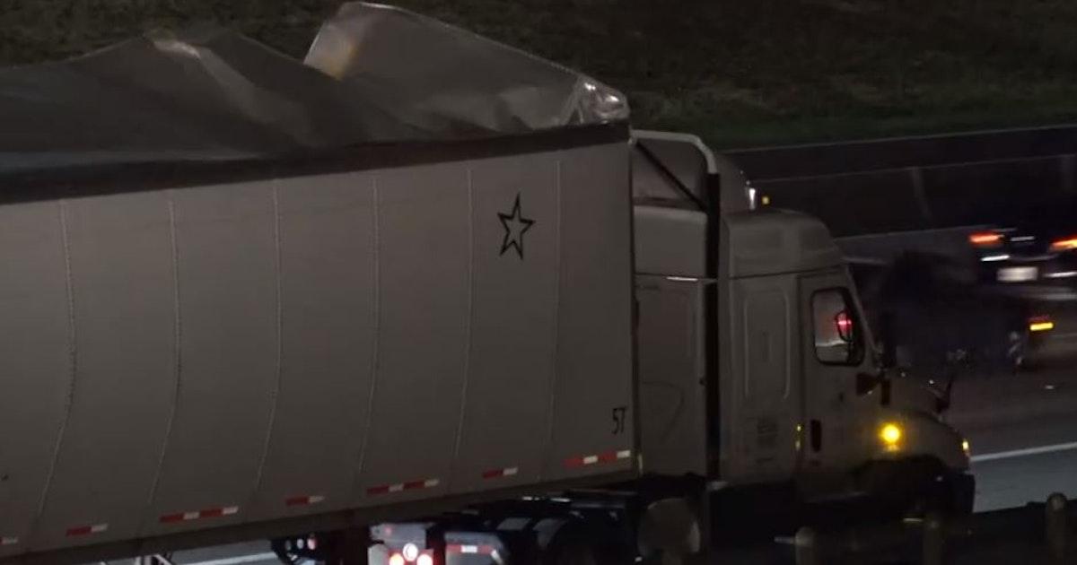 18-wheeler's trailer bursts open, scattering plastic foam pieces in Euless...