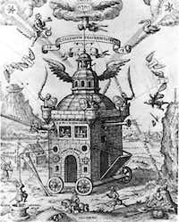 """""""The Invisible College of the Rose Cross Fraternity,"""" 1618, by Theophilius Schweighardt. Rusicrucianism swept Europe during the early seventeenth century."""