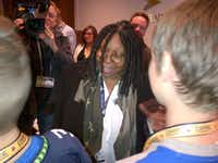 Entertainer Whoopi Goldberg talked with Tyler Sampson on Sunday, letting him know that she cried while watching the NFL Films story about him.(SAMPSON)