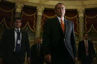 WASHINGTON, DC - OCTOBER 16:  U.S. Speaker of the House Rep. John Boehner (R-OH) walks to the House Chamber for a vote October 16, 2013 on Capitol Hill in Washington, DC. On the 16th day of a government shutdown, the House has passed a bill to reopen the government until January 15 and raise the nation's debt ceiling until February 7, 2014.  (Photo by Alex Wong/Getty Images)(Alex Wong - Getty Images)