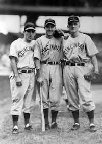 Bobby Brown (center) with Cincinnati Reds' Bobby Mattick (left) and Jimmy Gleeson in 1941 when Brown worked out with Reds before his career with the Yankees.