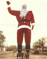 Big Tex started life in 1949 as  a dowdy Santa who wooed Christmas shoppers to tiny Kerens, south of Dallas.