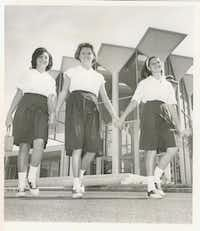 In 1962, Hockaday moved to its final location on Welch Road. Girls stand in front of the school entrance in 1967. The entrance has changed a bit, and teh campus is now tree-lined, but the bones of the school are still the same.
