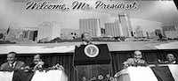 President Jimmy Carter addresses luncheon attendees as Sen. Lloyd Bentsen (from left), Fort Worth Star-Telegram executive editor Jack Tinsley, Rep. Jim Wright and Fort Worth mayor Hugh Parmer listen June 23, 1978.