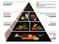"The Food Guide Pyramid introduced in 1992 emphasized a ""total diet approach.""(USDA)"