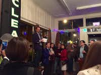Deep Vellum Publishing founder Will Evans addresses friends, supporters and media on December 9, 2015 at a launch party for Deep Vellum's space  at 3000 Commerce St. in Deep Ellum in Dallas.