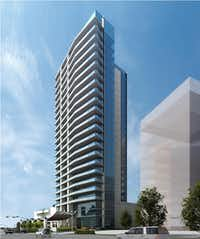 The planned 24-story Windrose Tower is part of the $2 billion Legacy West development in Plano.( GDA Architects )