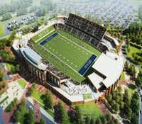 A computer rendering depicts what McKinney ISD's new stadium could look like at the southeast corner of Hardin Boulevard and McKinney Ranch Parkway.