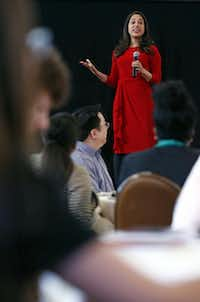 Dr. Seema Yasmin spoke to students during High School Journalism Day at the ballroom in Union Station. She is a staff writer at The Dallas Morning News, a professor of public health at the University of Texas at Dallas, and a former officer of the Epidemic Intelligence Service of the Centers for Disease Control and Prevention.( Nathan Hunsinger  - Staff Photographer)