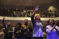 "Parishioners worship in the congregation during at Oak Cliff Bible Fellowship's presentation of, ""The Greatest Doubt,"" on Easter Sunday, April 20, 2014. (Matthew Busch/The Dallas Morning News)Matthew Busch - Staff Photographer"
