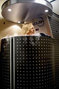 Whole-body cryotherapy involves up to three minutes in a chamber of nitrogen gas to rapidly lower the temperature.Matthew Busch  -  Staff Photographer
