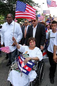 Adelfa Callejo  took part in an immigration rally downtown in 2010, one of her many civil rights efforts.(File Photo - Special Contributor)