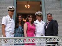 Ryan Martinez, left, Jessica Martinez, Carrie Martinez, Chris Martinez and Rick Martinez attended the Superintendent Garden Party before Chris' graduation from the United States Naval Academy last year.(Photo submitted by RICK MARTINEZ)