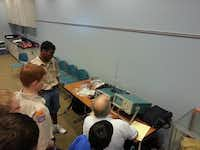 A group of Boy Scouts takes part in an Irving Amateur Radio club-sponsored class to learn about amateur radio and earn a merit badge. The radio club participates in several activities with the Irving-based Boy Scouts of America, including the annual Jamboree On the Air.(Photo submitted by the IRVING AMATEUR RADIO CLUB)