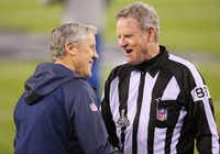 Scott Steenson spoke with Seattle Seahawks coach Pete Carroll before kickoff at Super Bowl XLVIII on Sunday.