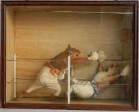A series featuring  squirrel pugilists was created by noted English taxidermist Edward Hart in the 19th century.(HANDOUT - The Washington Post)