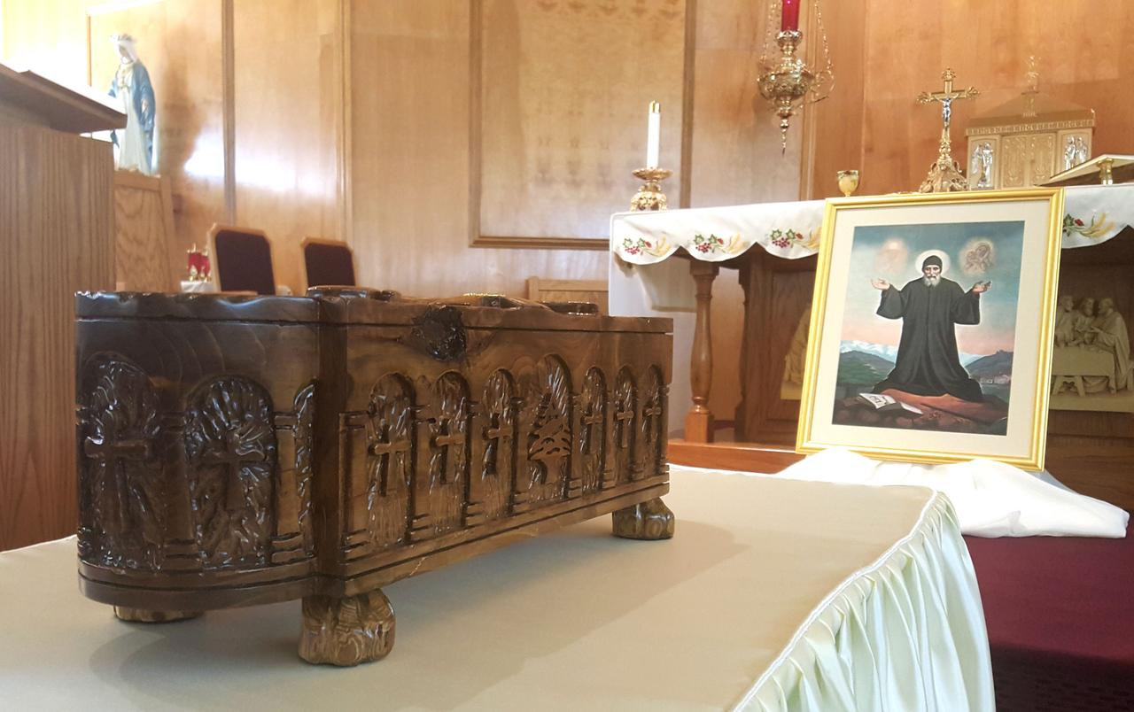 Lewisville church displays relics of St  Charbel, patron saint of