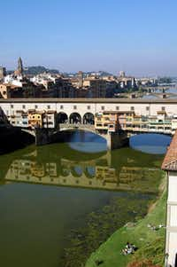 The colorful bridge,  Ponte Vecchio, can be seen from the Uffizi Gallery in Florence.(Photos by Katherine Rodeghier/Special Contributor - Katherine Rodeghier)