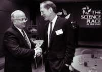 In 1993 Walt Humann, at right, was chair of the Science Place at Fair Park. (Erich Schlegel/File photo)