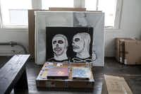 "Santa Barbara Skeletons 1 ,  acrylic on cardboard, by actor James Franco, is among the work in ""3 a m eternal.""(NAN COULTER/Photographer - Special Contributor)"