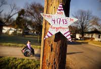 A star nailed to a pole outside of Sandra Villalobos' new home is a reminder of the West explosion, which took her husband's life. Their daughter, Mariana, often rolls her wheelchair outside to watch other children play.(Tom Fox - Staff Photographer)