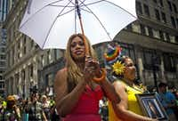NEW YORK, NY - JUNE 29:  Grand Marshal Laverne Cox (L) and Delores Nettles, mother of slain transgender woman Islan Nettles, attend the 2014 Gay Pride March on June 29, 2014 in New York City. Thousands of marchers attended the parade route, which started at 36th Street and Fifth Avenue and ended at Greenwich and Christopher streets. The parade ended at the Stonewall Inn, where New York marchers commemorated the 45th anniversary of the 1969 riots, which are credited with launching the modern gay rights movement. New York Gov. Andrew Cuomo and New York City's Mayor Bill de Blasio were in attendance along with grand marshals Jonathan Groff and Rea Carey, Executive Director of the National Gay and Lesbian Task Force. (Photo by Eric Thayer/Getty Images)Eric Thayer - Getty Images