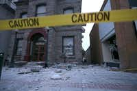 NAPA, CA - AUGUST 24:  Debris sits on the ground in front of a damaged building following a reported 6.0 earthquake on August 24, 2014 in Napa, California. A 6.0 earthquake rocked the San Francisco Bay Area shortly after 3:00 am on Sunday morning causing damage to buildings and sending at least 70 people to a hospital with non-life threatening injuries.Justin Sullivan - Getty Images