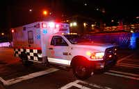 Ebola patient Amber Vinson arrives by ambulance at Emory University Hospital on Wednesday night in Atlanta. Vinson joins Nina Pham as health care workers who have contracted the Ebola virus at Texas Heath Presbyterian Hospital while treating patient Thomas Eric Duncan, who has since died.(Kevin C. Cox - Getty Images)