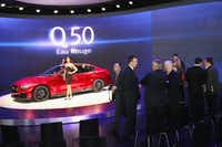 Infiniti displayed a candy-apple-red concept version of its new Q50 Eau Rouge Tuesday in Detroit.