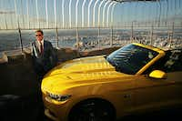 NEW YORK, NY - APRIL 16:  Ford Motor Company Executive Chairman Bill Ford stands on top of the observation deck at the Empire State Building with the new 2015 Mustang convertible in honor of 50 years of the Ford Mustang on April 16, 2014 in New York City. In 1965 a prototype Ford Mustang convertible made its way to the top of the observation deck. This time the iconic American car had to be brought up in parts and assembled on location. The Mustang will be on display for two days in celebration of the kick-off of the 2014 New York International Auto Show.  (Photo by Spencer Platt/Getty Images)(Spencer Platt - Getty Images)