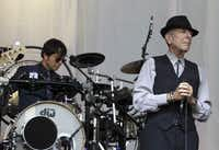 Canadian Leonard Cohen performs during a concert on Sint-Pietersplein in Gent, on August 12, 2012.