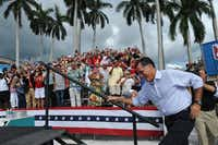 US Republican presidential candidate Mitt Romney arrives at a campaign rally at the Ringling Art Museum in Sarasota, Florida, on September 20, 2012.   AFP PHOTO/Nicholas KAMMNICHOLAS KAMM/AFP/GettyImagesNICHOLAS KAMM