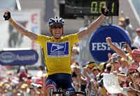 Lance Armstrong exulted in 2004 as he won  the 17th stage of the 91st Tour de France.
