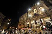 Pope Francis (center, in front of the altar) attends the celebration  Corpus Domini at Santa Maria Maggiore Basilica in Rome on May 30, 2013 after a procession between the basilica San Giovanni in Laterano and Santa Maria Maggiore.