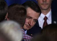 Republican presidential candidate Ted Cruz hugged a supporter after announcing the suspension of his campaign during an election night watch party May 3 in Indianapolis. Cruz lost the Indiana primary to Republican rival Donald Trump. (Joe Raedle/Getty Images)