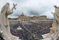 The crowds overflowed St. Peter's Square after a night that some spent sleeping on sidewalks and others passed lying on convent floors. More than 5,000 priests and over 1,000 bishops, leaders and other dignitaries from more than 90 countries were among the throng.Vincenzo Pinto - Presse