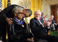 President Barack Obama kissed Maya Angelou after presenting the Presidential Medal of Freedom to her in 2011 at the White House.File   - Presse