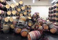 Barrels are strewn about inside the storage room of Bouchaine Vineyards in Napa in downtown Napa, California after an earthquake struck the area. California's governor Jerry Brown declared a state of emergency Sunday following a strong 6.0-magnitude earthquake that seriously injured three people including a child and ignited fires in the scenic Napa valley wine region. The US Geological Service said that the quake was the most powerful to hit the San Francisco Bay area since the 1989 6.9-magnitude Loma Prieta earthquake. AFP PHOTO/JOSH EDELSONJosh Edelson/AFP/Getty ImagesJOSH EDELSON - AFP/Getty Images