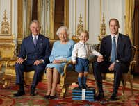 Among the English items that will mark the queen's 90th birthday: new stamps. The sheet features four generations of the Royal family: the Prince of Wales, Queen Elizabeth II, Prince George and the Duke of Cambridge. The photo was was taken in the summer of 2015 in the White Drawing Room at Buckingham Palace. (Ranald Mackechnie/Royal Mail/PA Wire / AFP PHOTO / Royal Mail)
