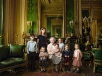 Queen Elizabeth II shared family photographs featuring her two youngest grandchildren and her five great-grandchildren to mark her 90th birthday. (ANNIE LIEBOVITZ)